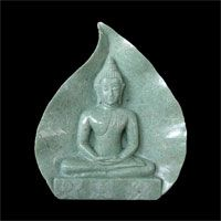 Historical Sukhothai Buddha Meditating, Backed On a Bodi Leaf